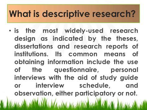 Descriptive Design Meaning | descriptive research