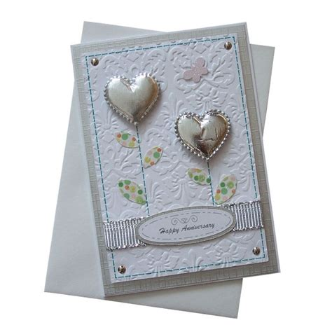 Handmade 25th Anniversary Cards - handmade anniversary card silver 163 1 50 cardmaking