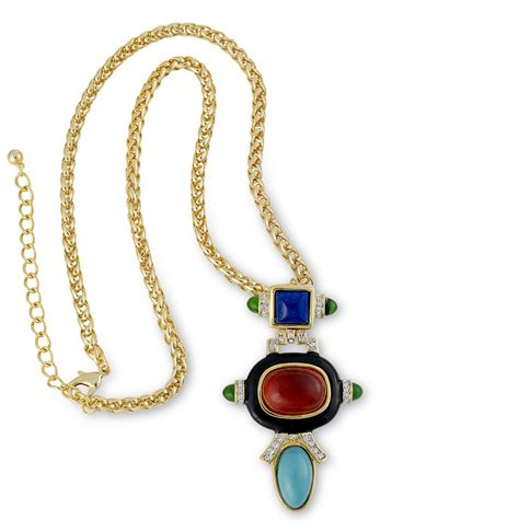 Kenneth Lanes Lipstick Necklace At Outfitters by Kenneth Ruby And Turquoise Pendant Necklace In