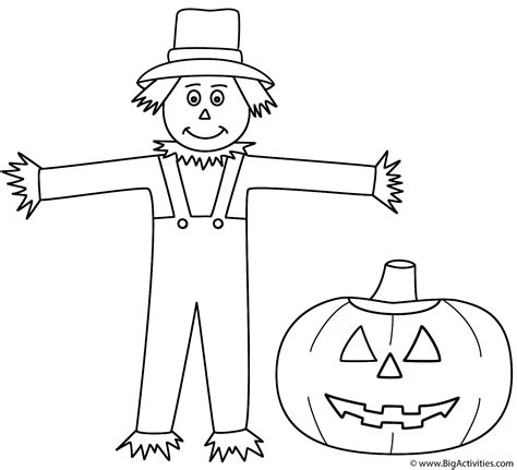 coloring pages halloween jack o lantern scarecrow with pumpkin jack o lantern coloring page