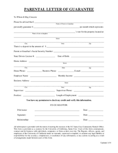 Parent Guarantee Letter For Rent 2014 2017 Form Ca Parental Letter Guarantee Fill Printable Fillable Blank Pdffiller