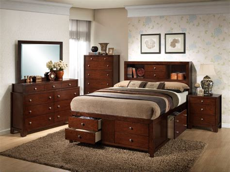 cherry bedroom sets weber traditional modern 5pc queen storage bedroom set