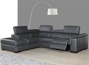 Gray Leather Reclining Sectional Agata Slate Gray Leather Power Reclining Laf Sectional