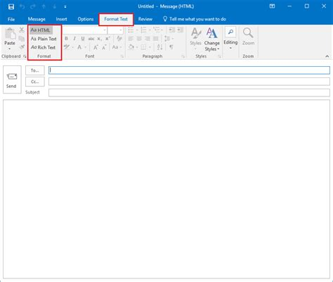 email format text or html send emails in html or plain text in outlook 2016 for windows