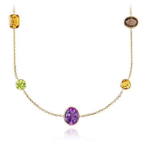 multicolor gemstone necklace in 14k yellow gold 34 quot