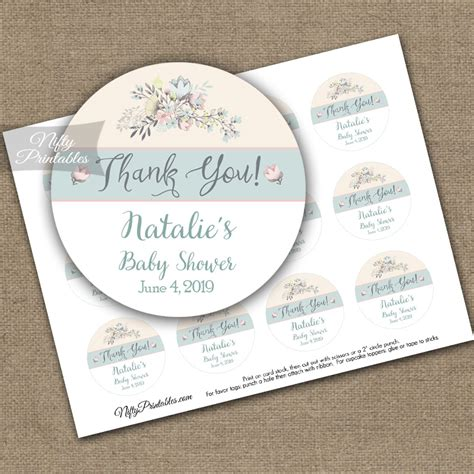 printable thank you tags for baptism shower baptism thank you favor tags floral bouquet