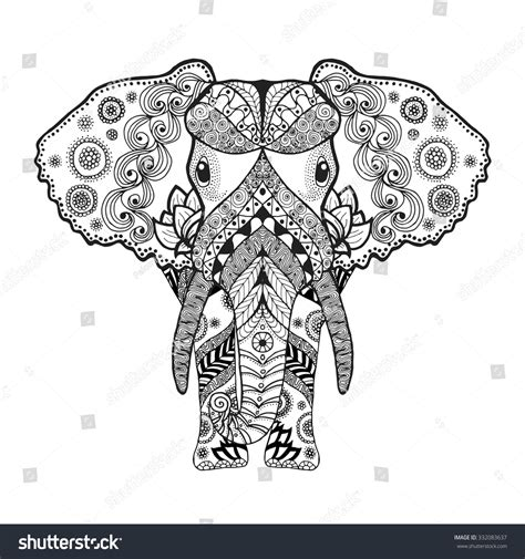 Patterned Animal Coloring Pages by Antistress Coloring Page Black White Stock Vector