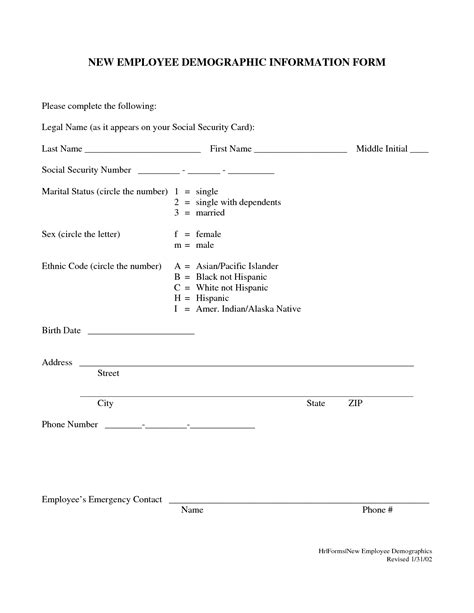 demographic form template 15 best images of basic demographic sheet patient