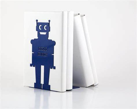 Bookend For Kids Room Robot Blue Powder By Bookends For Rooms