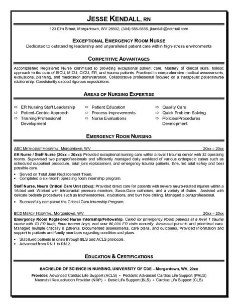 Er Resume by Exle Er Emergency Room Resume Free Sle