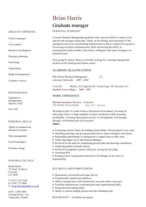 Cv Templates For Marketing Graduates | cv layout for teenagers graduate manager cv mohammed cv
