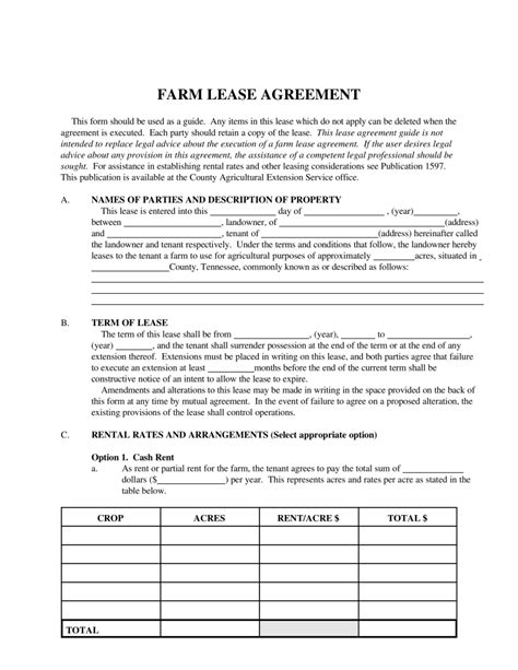 free tennessee farm lease agreement template pdf