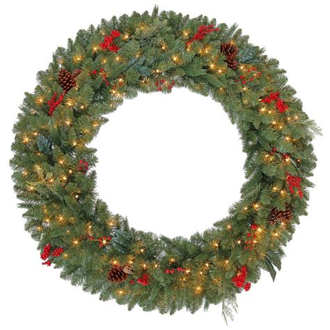 outdoor wreath with lights martha stewart living 48 in winslow artificial wreath