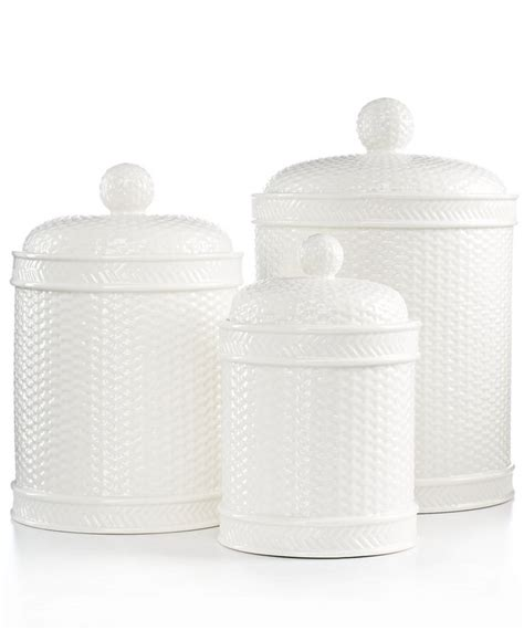 martha stewart kitchen canisters martha stewart collection set of 3 whiteware basketweave