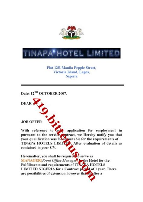 Appointment Letter Hotel Tinapa Hotel Limited