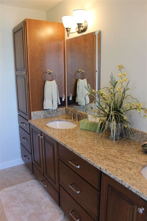 Redo Bathroom Vanity Countertop New Vanity Cabinets And Tops Countertop Is Giallo Ornamental Granite Bathroom Remodel