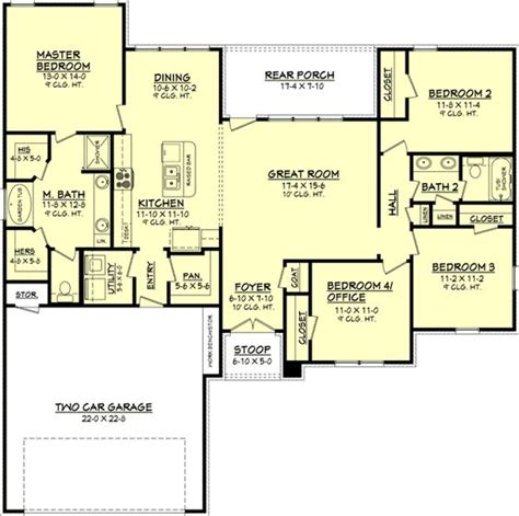 Floor Plans Floors And Bedrooms On Pinterest 1700 Square Foot House Plans Ranch
