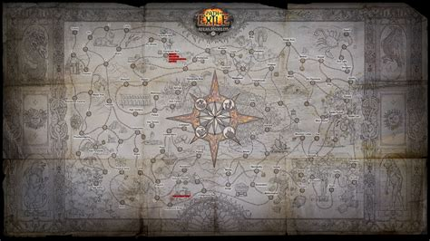 sextant guide poe 3 4 fully marked atlas of worlds poster pathofexile