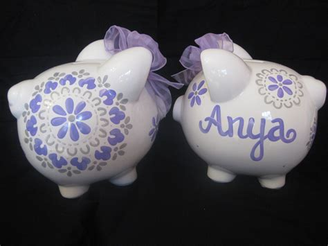 painted piggy banks piggy bank painted personalized pbk dahlia damask purple