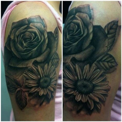 rose and daisy tattoo and design on arm tattoos
