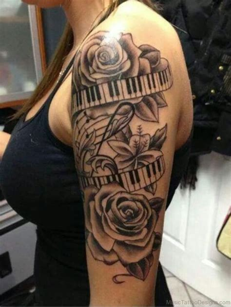 rose and music tattoo 92 tattoos