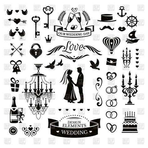 wedding design elements vector wedding icons and design elements royalty free vector clip