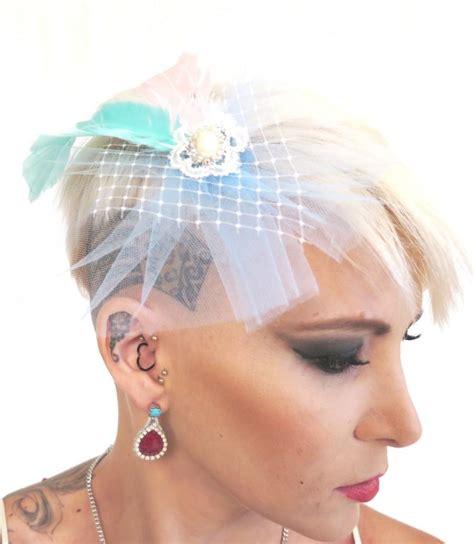 Feather Wedding Veil wedding veil pink blue net feather veil fascinator