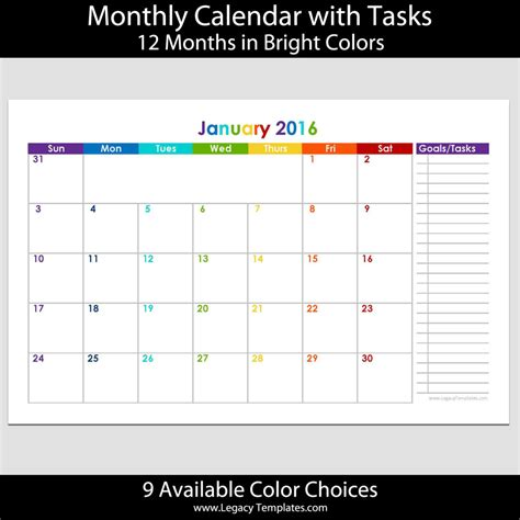 printable calendar 2016 5 5 x 8 5 2016 12 month landscape calendar with tasks 5 5 x 8 5