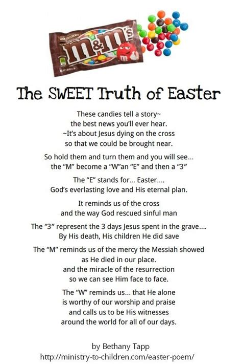 printable children s version of the easter story printable poem using m s to share the gospel on easter