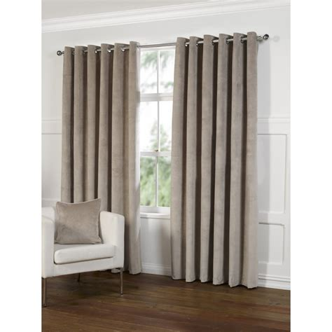 velvet eyelet curtains urban living millie latte velvet eyelet readymade curtains
