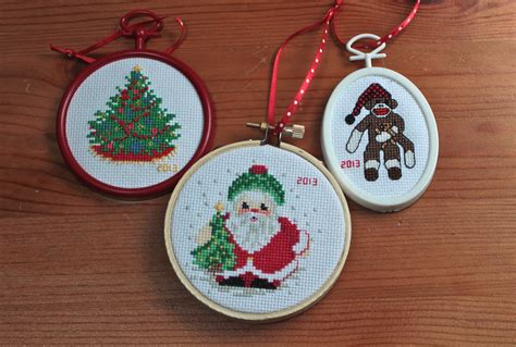 cross stitched christmas ornaments sweet alchemy
