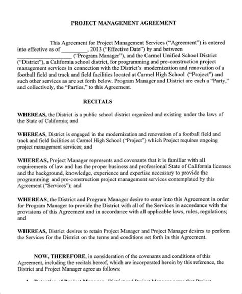 project manager contract template 9 management agreement templates free sle exle