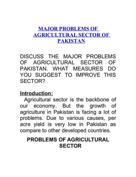 major problems  agricultural sector  pakistan