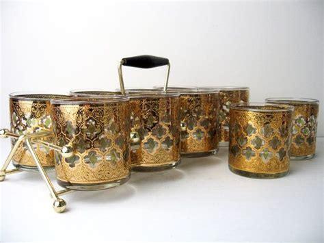 culver barware culver valencia mid century gold pattern cocktail glasses