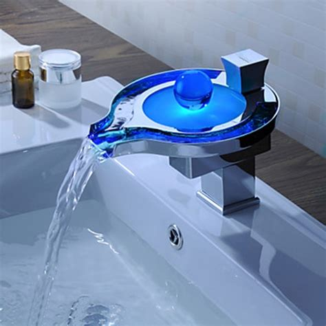 faucets images color changing led waterfall bathroom sink