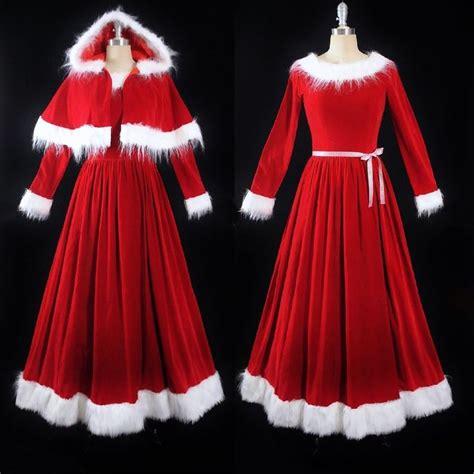 vtg mrs santa claus red velvet full length skirt fur