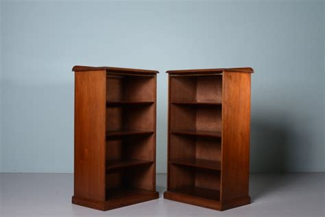 pair of edwardian antique mahogany bedside bookcases