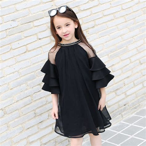 summer childrens clothing short sleeved dress black
