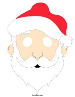 printable christmas masks santa claus mask templates including a coloring page