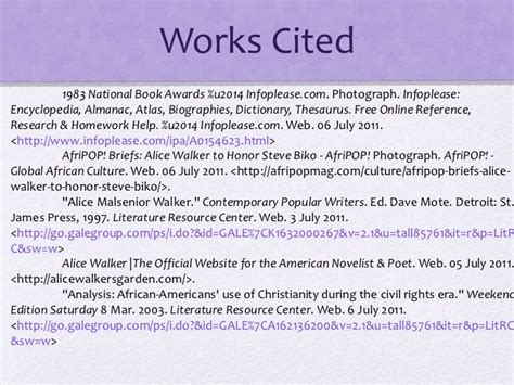 the color purple book works cited the color purple