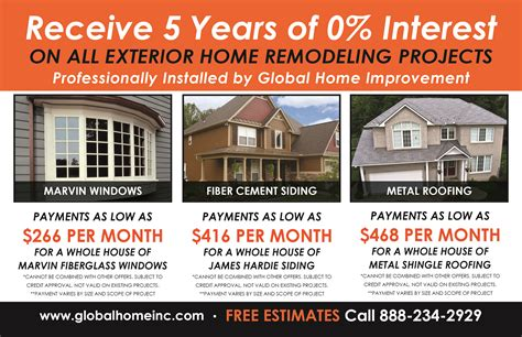 receive 0 interest for 5 years on all exterior home