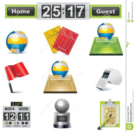 Vector Volleyball Icon Set Royalty Free Stock Images   Image: 18184889