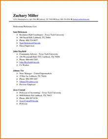 Reference Template by 8 List Of References Template Itinerary Template Sle