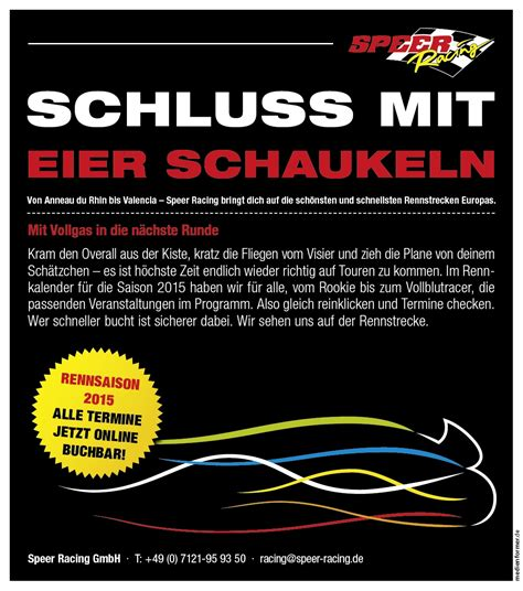 Motorrad Speer by Speer Racing Schluss Mit Eier Schaukeln Gaskrank Magazin