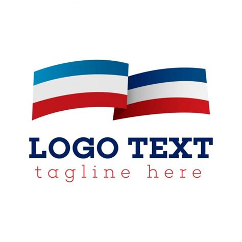 Flag logo, blue, white and red Vector   Free Download