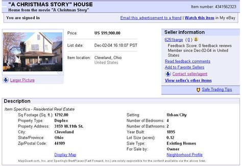buying a house on ebay original ebay ad a christmas story house