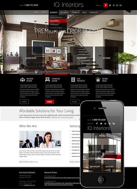 Iq Interiors Interior Design Responsive Wordpress Theme Interior Design Email Templates
