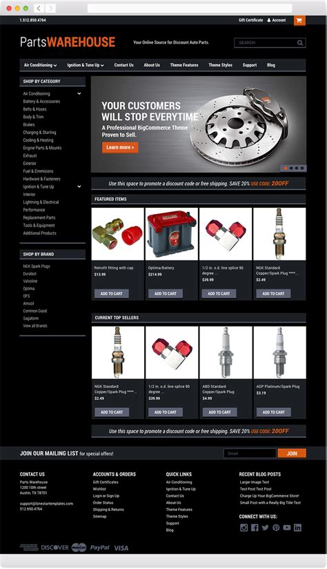 parts warehouse bigcommerce theme by lone star templates