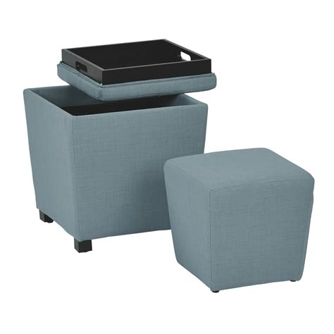 fabric ottoman with tray 2 piece ottoman set with tray top in milford capri fabric