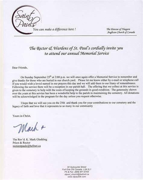 Memorial Service Invitation Letter Sle Remembrance St Pauls Anglican Church